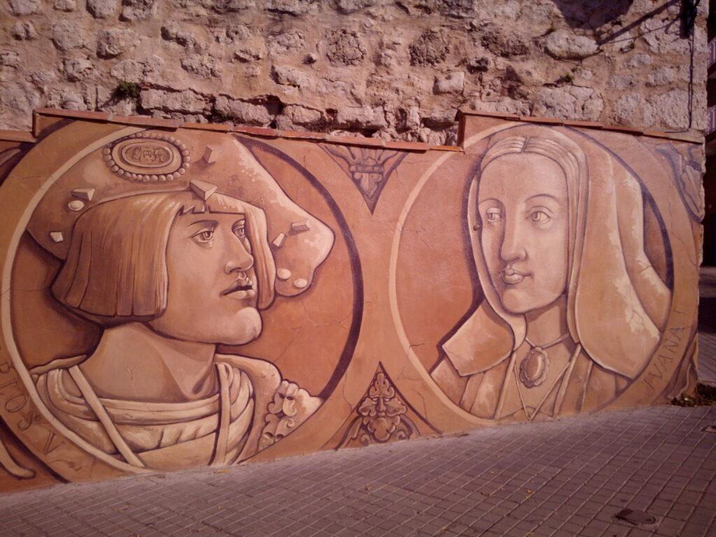 Mural conmemorativo de la llegada de Carlos V a Tordesillas